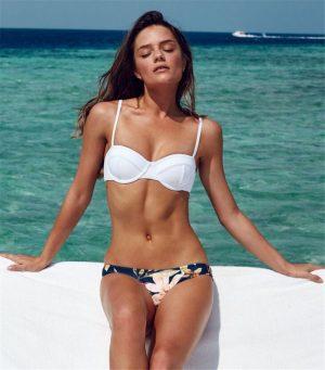 Angelsin Üstü Beyaz Altı Renkli Özel Tasarım Bikini