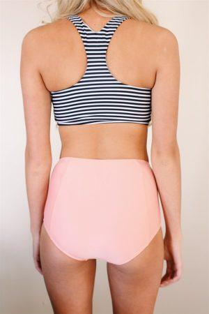 Angelsin Altı Pembe Üstü Cizgili Yüksek Bel Tankini Bikini Takım