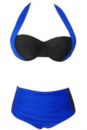 Angelsin Kaplı Mavi Siyah Şık Tasarımlı Yüksek Bel Bikini