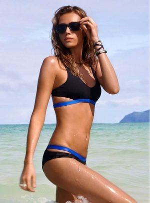 Mavi İşlemeli Lacivert Şık Tasarım Bikini