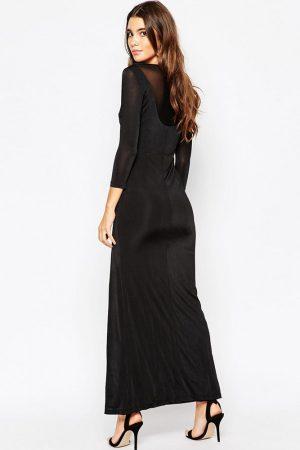 Merry See Şık Bacak Dekolteli Siyah Uzun Elbise