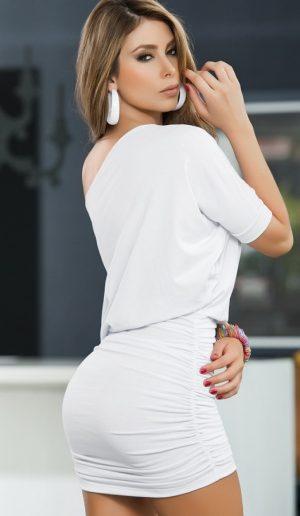 Merry See Şık Beyaz Mini Elbise