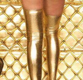 Merry See Altın Rengi Parlak Çorap