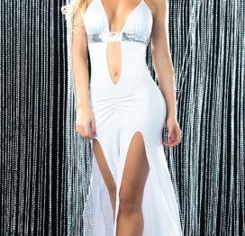 Merry See Beyaz Uzun Şık Gece Elbisesi