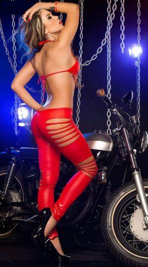 Merry See Kırmızı Deri Lazer kesim Tulum Fantazi Giyim