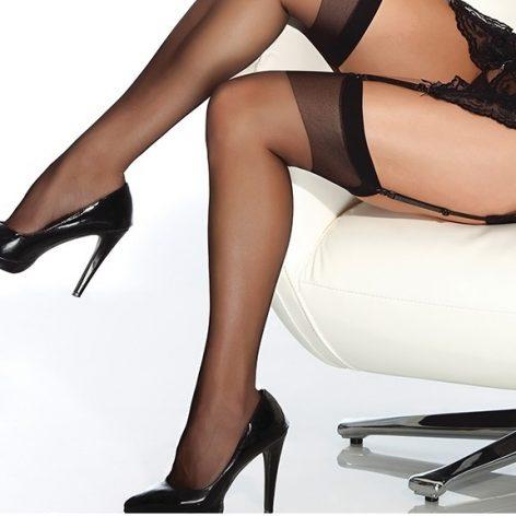 Merry See Siyah Dantelsiz Jartiyer Çorabı