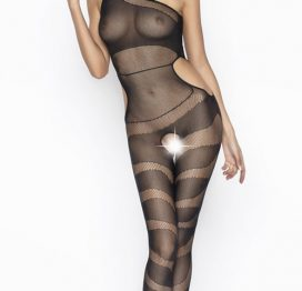 Vixson Desenli Transparan Fantazi Siyah Vücut Çorabı