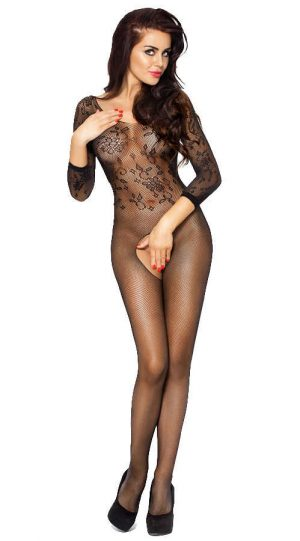 Vixson Uzun Kollu Siyah Vücut Çorabı