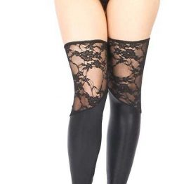 Vixson Dantelli Deri Görünümlü Parlak Fantazi Çorap