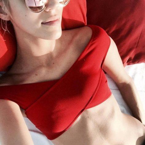 Angelsin Kırmızı Özel Tasarım Bikini Üst