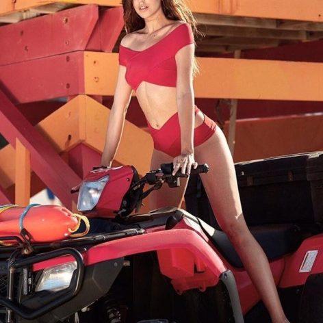 Angelsin Kırmızı Özel Tasarım Bikini Alt