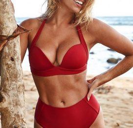 Angelsin Kırmızı Yuksek Bel Bikini Takım