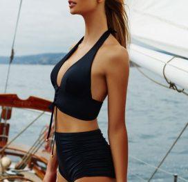 Angelsin Siyah Yüksek Bel Bikini Takım