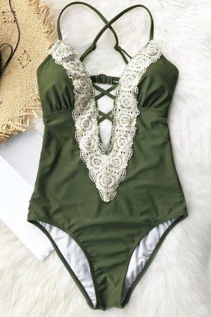 Angelsin Yeşil Dantel İşlemeli Mayo