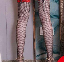 Merry See Özel Tasarım Kurdelalı Danteli File Jartiyer Çorap Kırmızı