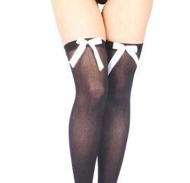 Vixson Büyük Beyaz Kurdeleli Diz Üstü Jartiyer Çorabı