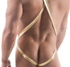 Vixson Men Altın Renkli Omuz Askılı Fantezi Giyim