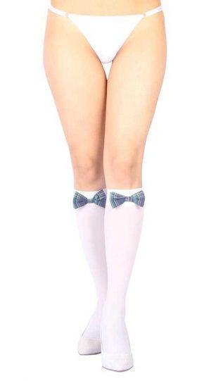 Vixson Beyaz Diz Altı Mavi Ekose Kurdeleli Fantazi Çorap Ve  G String Seti