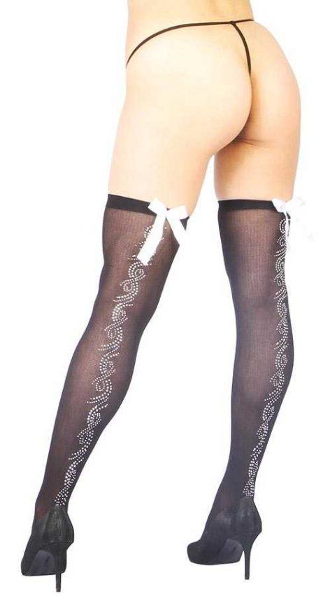 Vixson Parlak Taş Tasarımlı Ve Beyaz Kurdeleli Seksi Çorap